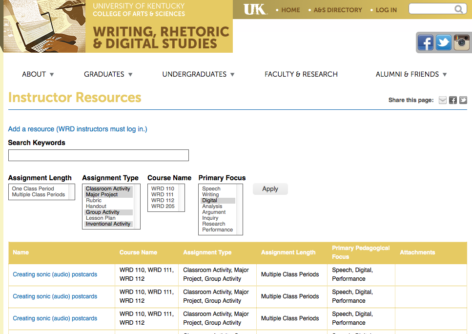 Screenshot: Teaching Materials Database