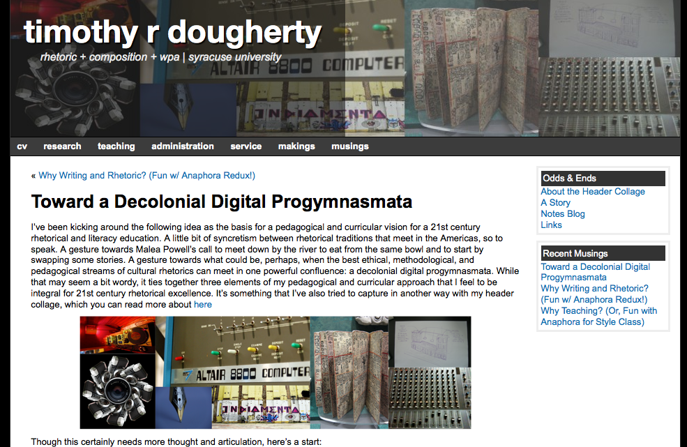 Screenshot: Timothy Dougherty Blog Entry