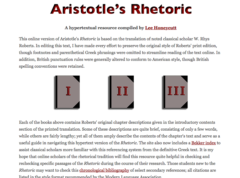 Screenshot: Lee Honeycutt's Hypertext Compilation of Aristotle's On Rhetoric