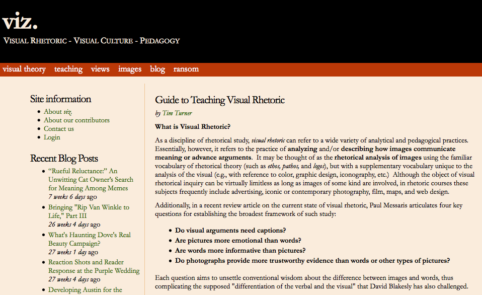 rhetoric digital pedagogy in the humanities mla commons screenshot viz entry on guide to teaching visual rhetoric
