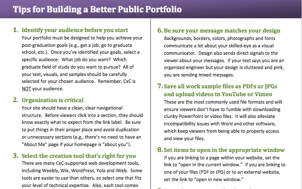 Tips For Building A Better Public Portfolio. Screenshot