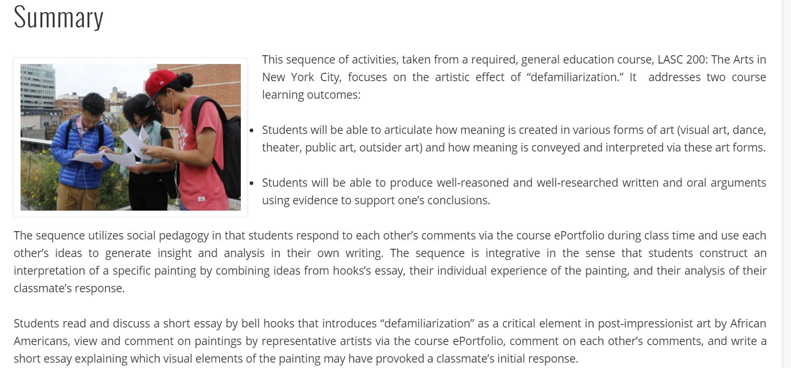 eportfolio digital pedagogy in the humanities mla commons screenshot