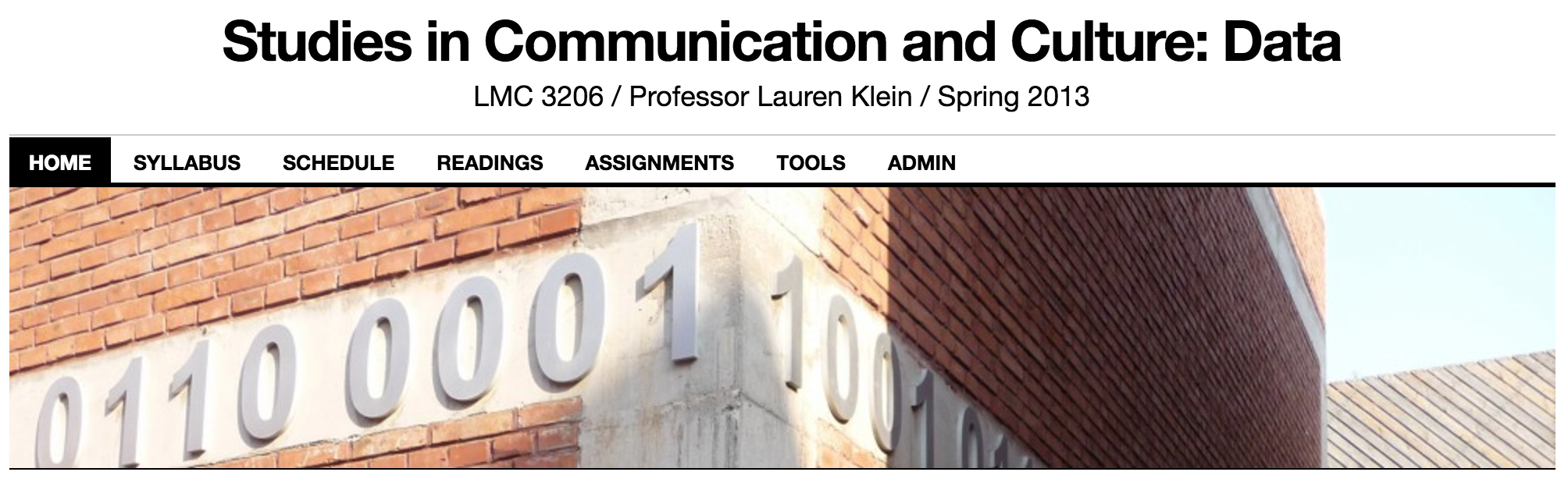 Screenshot of Laura Klein's course website