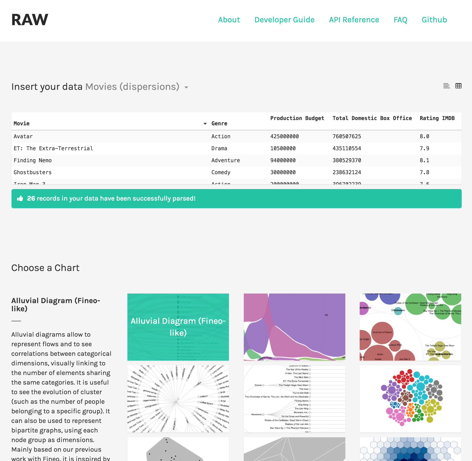Screenshot of RAW website